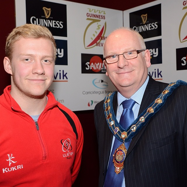 The town mayor joined us for the launch. Pictured here with Stuart Olding #carricksevens