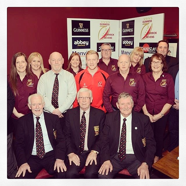 The sevens committee with @ulsterrugby's Stuart Olding at the draw. View the groups at www.carricksevens.co.uk