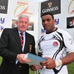 04 Down Exiles Captain reveives Plate trophy from Gerry Simms